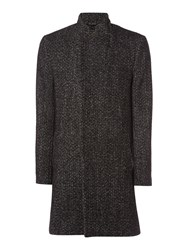 Label Lab Men's Churner Longline Herringbone Coat Black