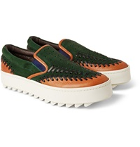 Kolor Leather Trimmed Suede Sneakers