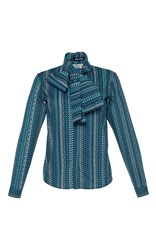 Holly Fulton Neck Tie Printed Blouse Blue