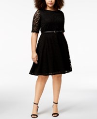 Charter Club Plus Size Belted Lace A Line Dress Created For Macy's Deep Black