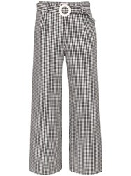 Solid And Striped Gingham Wide Leg Trousers Black