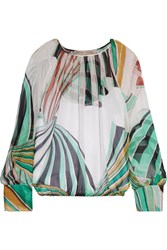 Emilio Pucci Printed Silk Chiffon Blouse Light Green
