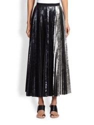 Proenza Schouler Foil Pleated Long Skirt Midnight Silver