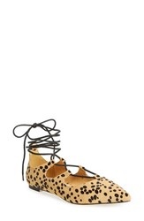 Callisto Women's 'Rian' Ghillie Lace Pointy Toe Flat Leopard Haircalf