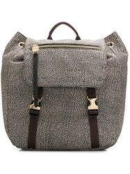 Borbonese Foldover Top Backpack Neutrals