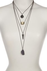 Jamierocks Four Layer Natural Stone Look Necklace Metallic