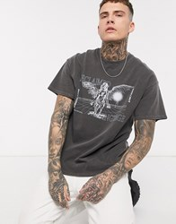 Reclaimed Vintage Overdye T Shirt With Angel Print In Charcoal Grey