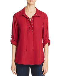 Status By Chenault Metallic Lace Up Shirt 100 Bloomingdale's Exclusive Burgundy