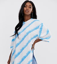 Boohoo Exclusive Oversized T Shirt With Side Splits In Blue And White Tie Dye Multi