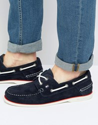 Tommy Hilfiger Knot Suede Boat Shoes Navy