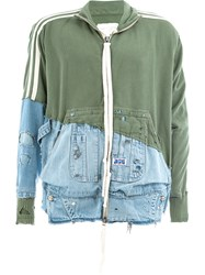 Greg Lauren Denim Panelled Jersey Jacket Green