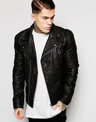 Religion Textured Leather Biker Jacket Black