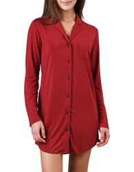 Naked Solid Long Sleeve Nightshirt Red