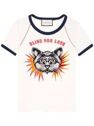 Gucci T Shirt With Cat Applique White