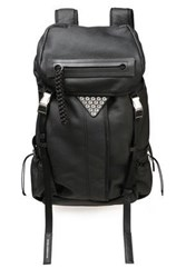 Alexander Wang Woman Snap Embellished Textured Leather Backpack Black