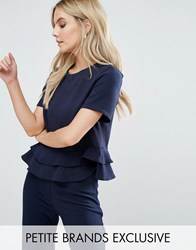 John Zack Petite Crop Top With Peplum Hem Navy