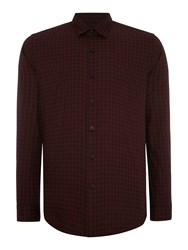 Peter Werth Daily Polka Dot Slim Fit Long Sleeve Button Down Burgundy