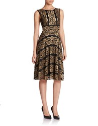 Gabby Skye Lace Fit And Flare Dress Black Bronze