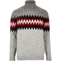 River Island Mensgrey Aztec Roll Neck Sweater