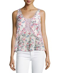 French Connection Floral Print Georgette Tank W Ruffles Porcelain Multi