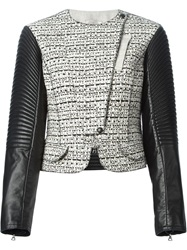Nina Ricci Leather And Tweed Biker Jacket Black