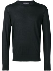 Dolce And Gabbana Slim Fit Knitted Jumper Black