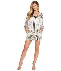 Hale Bob Fierce Creatures Stretch Satin Woven Romper Ivory Women's Jumpsuit And Rompers One Piece White