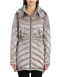 Badgley Mischka Mallory Quilted Puffer Coat Espresso