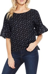 Vince Camuto Women's Two By Mini Bouquets Bell Sleeve Blouse Rich Black