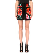 Balmain Floral Print Velvet Skirt Red Black Green