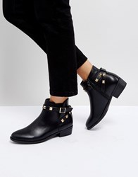 Truffle Collection Stud Strap Low Boot Black Pu