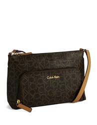 Calvin Klein Logo Crossbody Bag Brown Khaki Camel