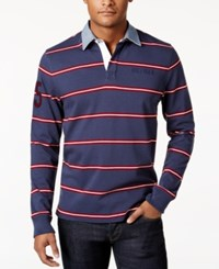 Tommy Hilfiger Men's Big And Tall Conen Striped Rugby Shirt Mood Indigo