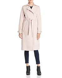 T Tahari Faux Suede Trench Coat Blush