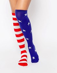 Leg Avenue Stars And Stripes Knee High Socks Multicolor