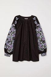 Handm Blouse With Embroidery Black