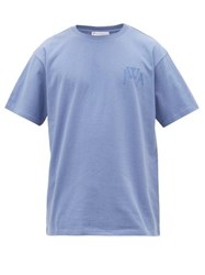 J.W.Anderson Jw Anderson Logo Embroidered Cotton T Shirt Blue