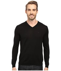 Calvin Klein Merino Moon And Tipped V Neck Sweater Black Men's Sweater