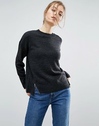 Asos Oversized Jumper With Front Splits Charcoal Grey