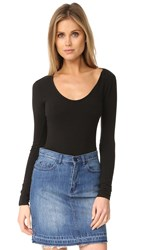 Madewell Stevie Scoop Neck Long Sleeve Bodysuit True Black