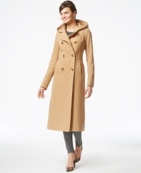 Anne Klein Double Breasted Hooded Maxi Coat Camel