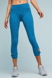 Anthropologie Twist And Shout Capri Leggings Blue Motif