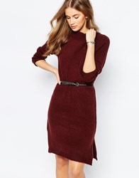 Pull And Bear Pullandbear High Neck Knitted Dress Red