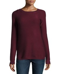 Neiman Marcus Ribbed Bateau Neck Sweater Wine