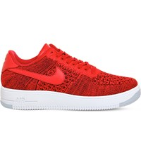 Nike Air Force 1 Flyknit And Leather Low Top Trainers University Red White