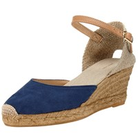 John Lewis Lloret Wedge Heeled Espadrilles Navy Brown