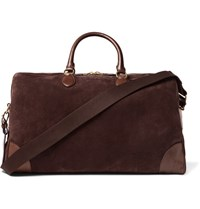 Ralph Lauren Purple Label Leather Trimmed Suede Duffle Bag Chocolate