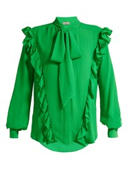 Preen Billy Ruffled Crepe Blouse Green