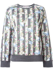 Olympia Le Tan Alice In Wonderland Print Sweatshirt Grey