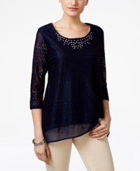 Jm Collection Petite Layered Look Lace Tunic Only At Macy's Mint Julip